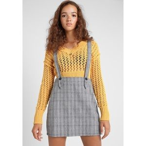 Gray Checkered Pinafore Jumper Dress